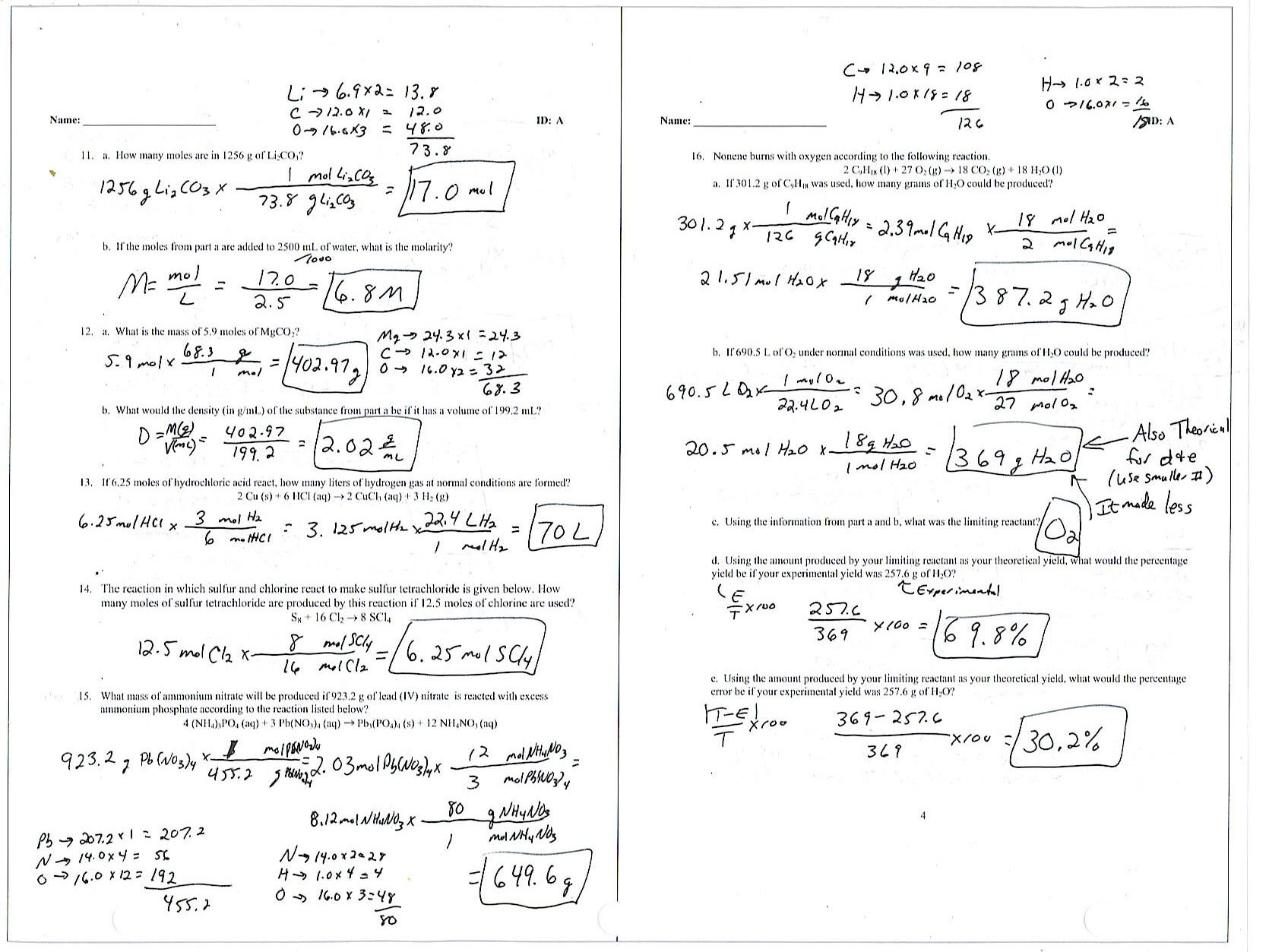 Chemistry Molecular Formula Worksheet Answers