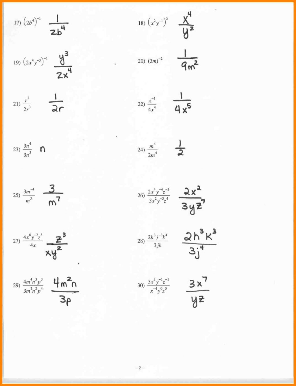 Properties Of Exponents Worksheets And Answers