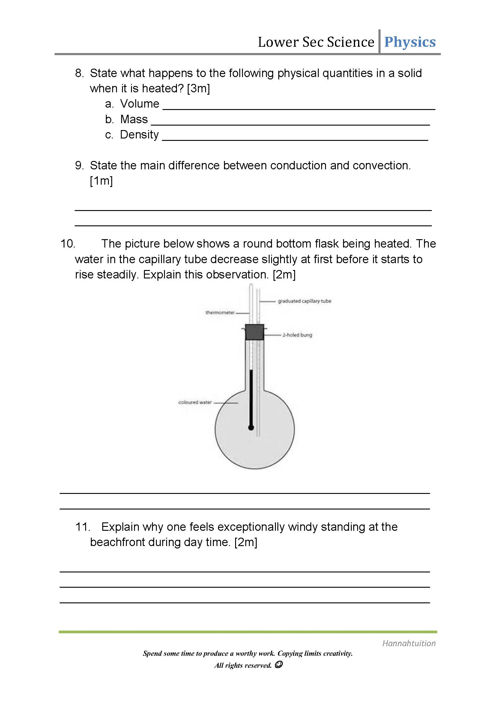Worksheets On Heat