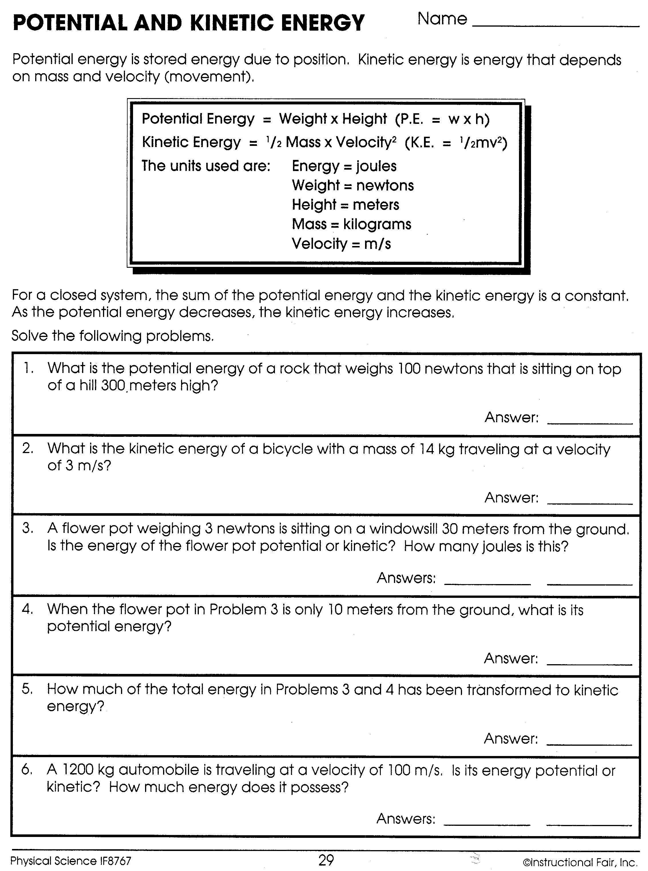 Calculating Kinetic And Potential Energy Worksheets