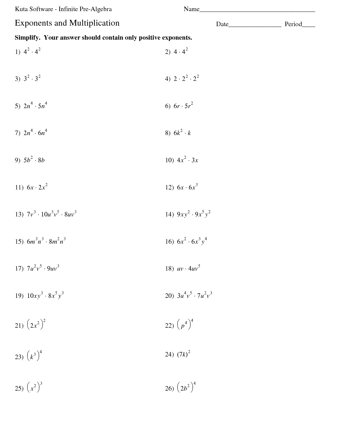 Multiplication Properties Of Exponents Worksheets Answers