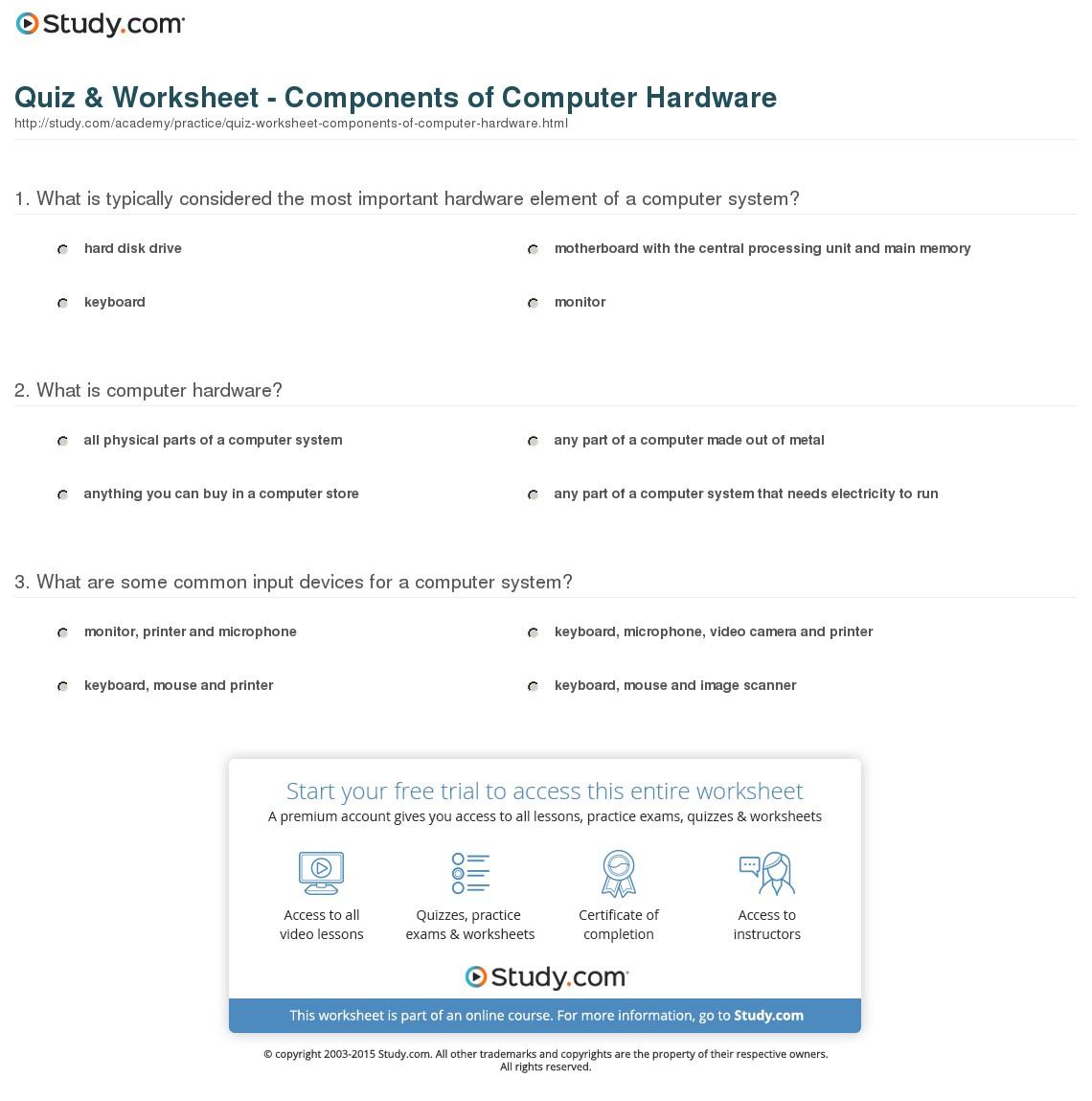 Computer Components Worksheets