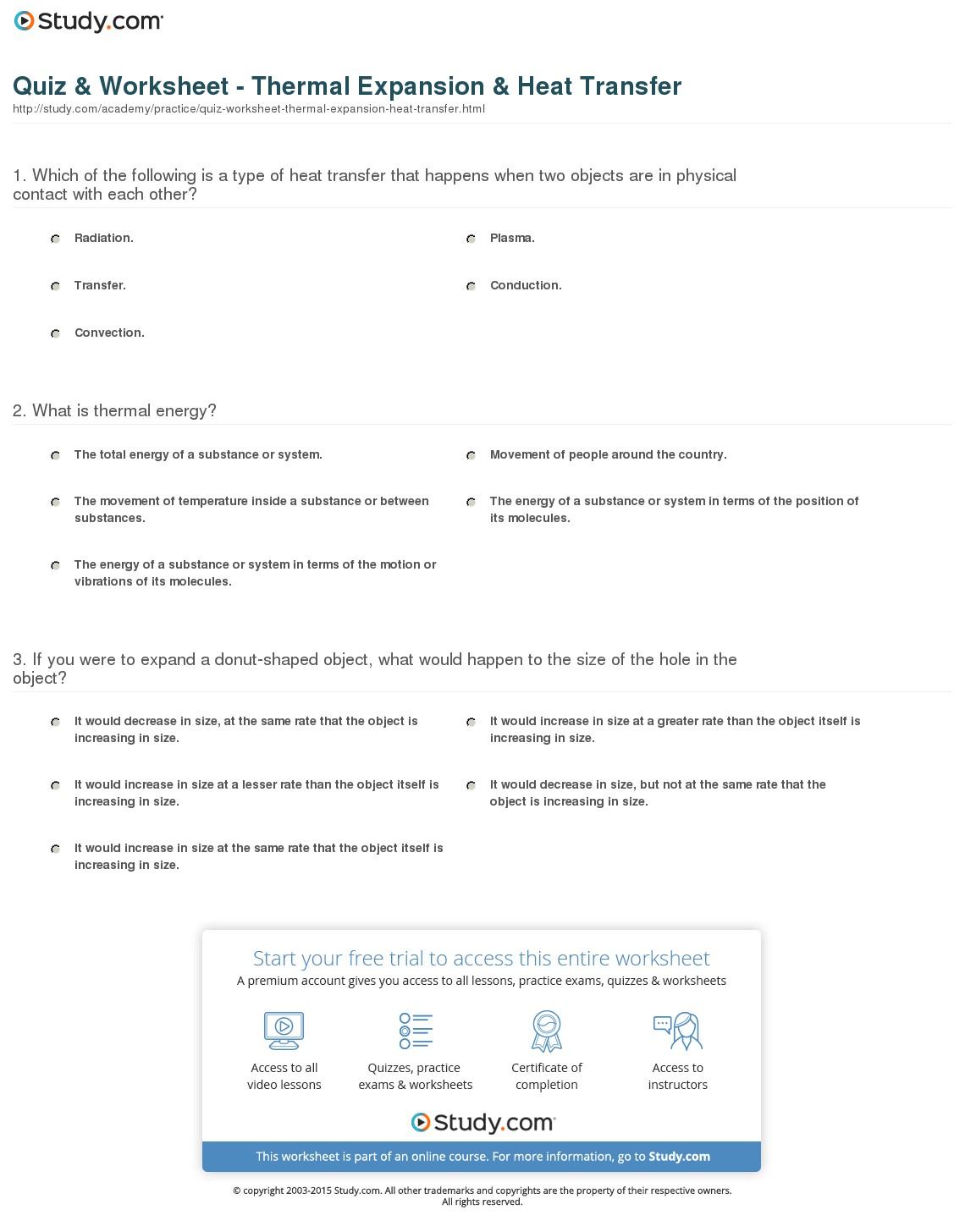 Thermal Energy Worksheets
