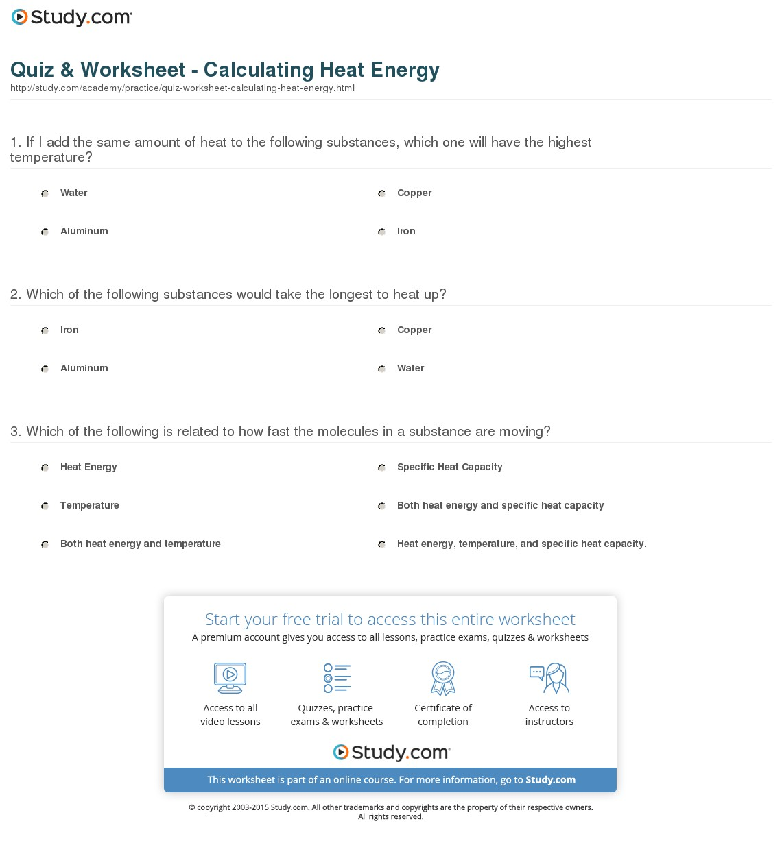 Thermal Energy Worksheets