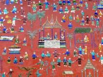 Pared en templo de Luang Prabang