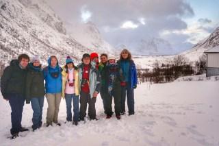 Foto de grupo al completo, tras la nevada