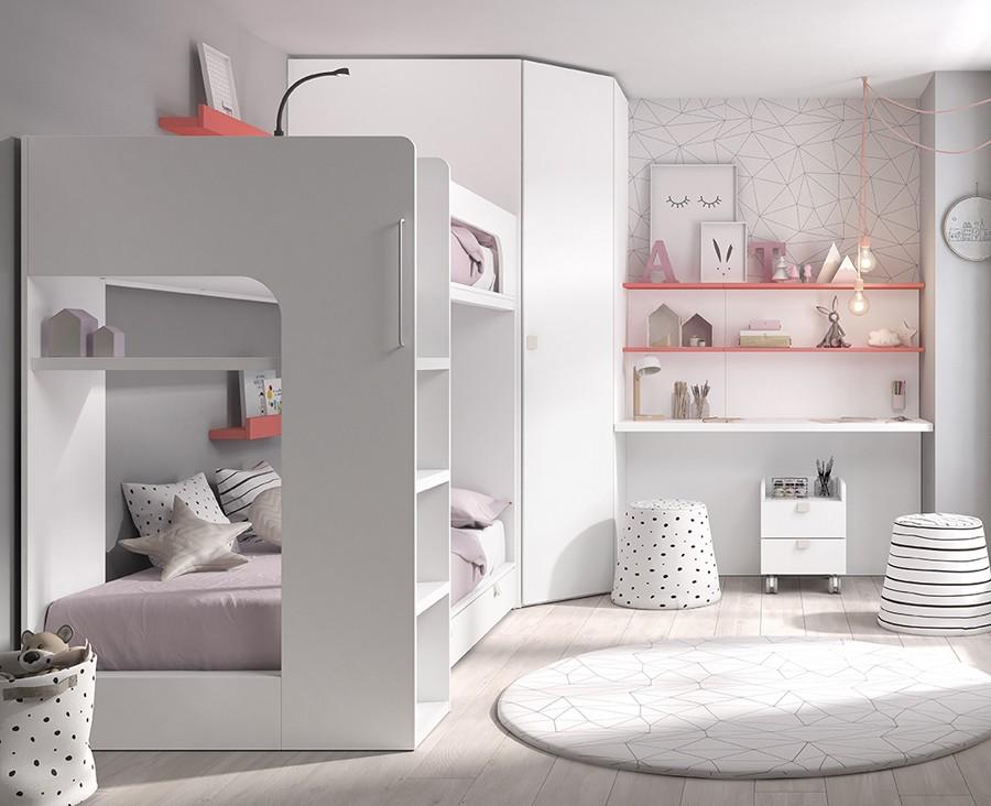 chambre avec lit superpose armoire d angle et bureau avec etageres