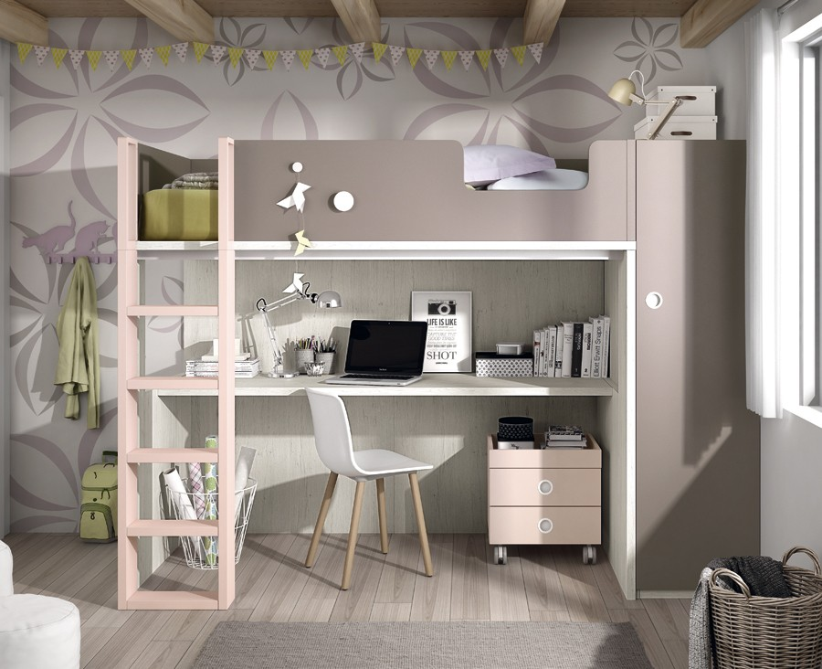 chambre ado composee d un lit superpose armoire et bureau