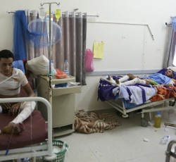 Patients injured by airstrikes in Joumhouri hospital, Sana'a, Yemen, July 2015. Credit: OCHA / Charlotte Cans