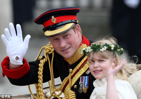 Lady Louise with her cousin, Prince Harry, at the wedding of the Duke and Duchess of Cambridge. photo: Daily Mail/PA