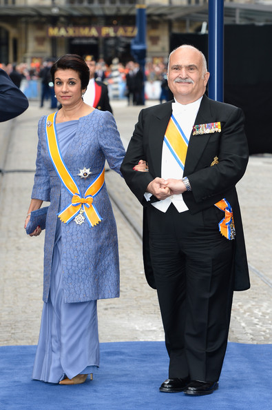 with her husband, Prince Hassan, at the 2013 Inauguration of King Willem-Alexander of the Netherlands. photo: Zimbio