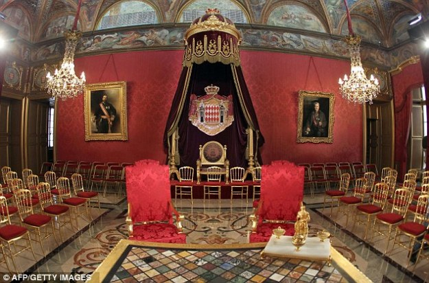 The Throne Room, in preparation for the civil marriage ceremony of Prince Albert and Princess Charlene, July 2011.  source: The Daily Mail