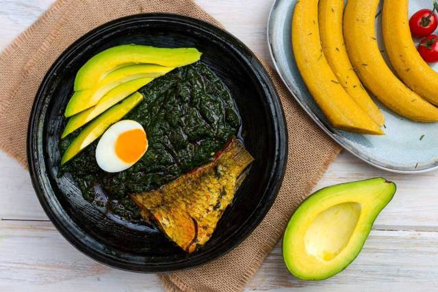 Plantain and Kontomire Stew