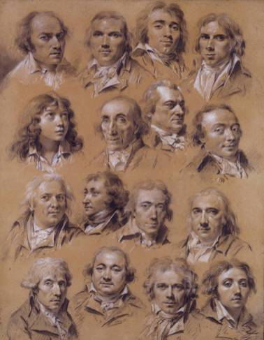 Louis Léopold Boilly Ritratti di sedici uomini, Matita nera e rialzi di bianco su carta beige (originariamente azzurra), 57,5 x 45,5 cm