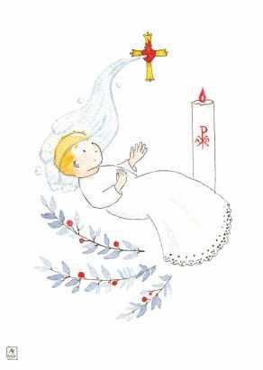 Carte postale éditée par Un Ours dans l'Atelier. Reprographie d'une aquarelle représentant un bébé blond baptisé en robe blanche avec des rameaux bleu et baies rouges.