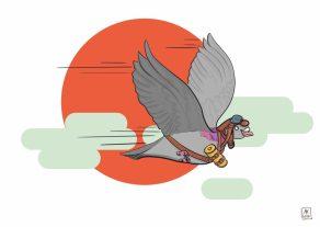 Carte postale éditée par Un Ours dans l'Atelier. Dessin numerique sur Krita représentant un pigeon voyageur.