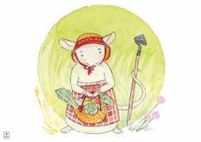 Carte postale éditée par Un Ours dans l'Atelier. Reprographie d'une aquarelle pour enfant représentant une souris des champs cultivant son potage