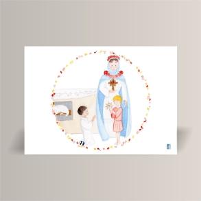 aquarelle de la boutique un ours dans l'atelier représentant la vierge marie et jesus donnant la communion à un jeune homme