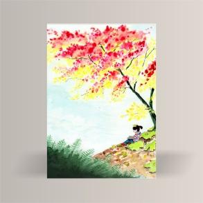 aquarelle de la boutique un ours dans l'atelier représentant une jeune fille lisant sous un arbre aux couleurs automnales