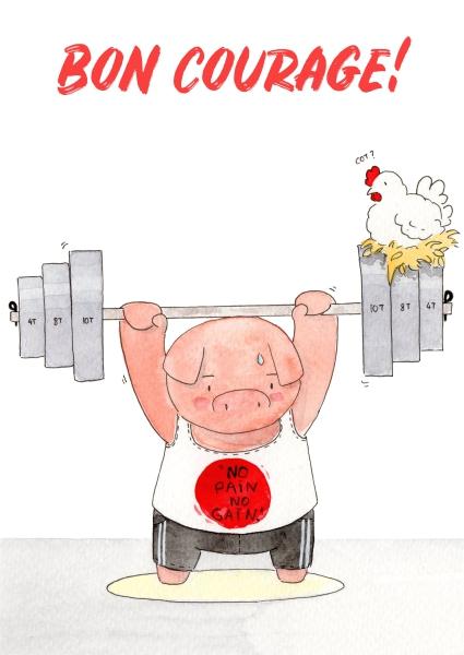 aquarelle de la boutique un ours dans l'atelier représentant un cochon faisant de haltérophilie avec une poule