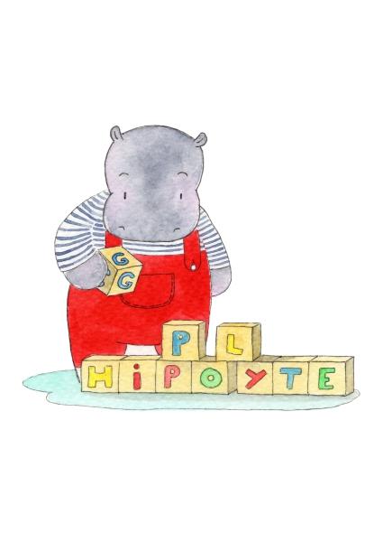 aquarelle de la boutique un ours dans l'atelier représentant un hippopotame jouant au cubes