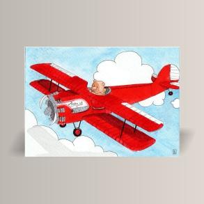 aquarelle de la boutique un ours dans l'atelier représentant un ourson volant en avion biplan rouge