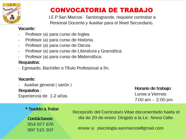 Convocatoria de empleo for Convocatoria para docentes
