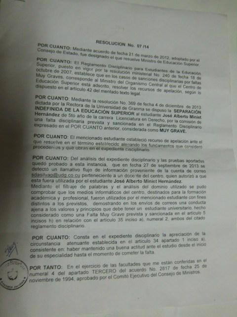 Resolución Ministerial página 1