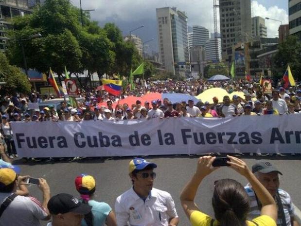 Manifestación en Caracas contra el régimen de La Habana. (ANTONIO J. RIVERO)