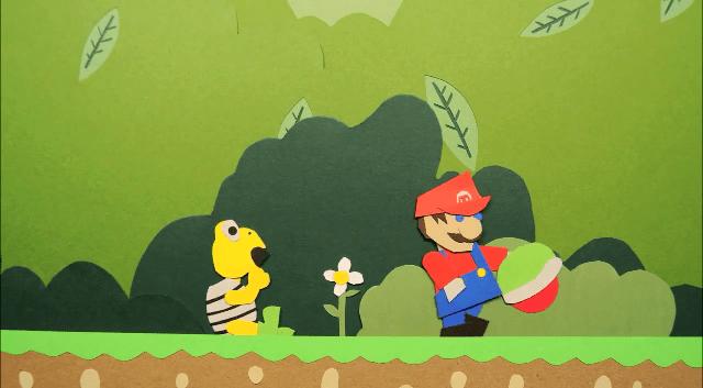 Cortos de Super Mario hechos son papel y stop motion