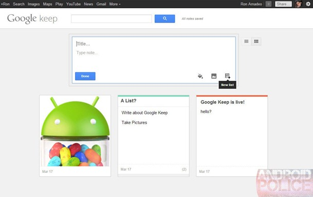 google keep, a note service by google - unpocogeek.com