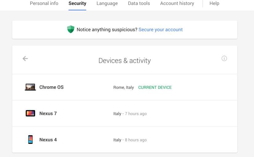 Controla en que equipos se usa tu cuenta de Google