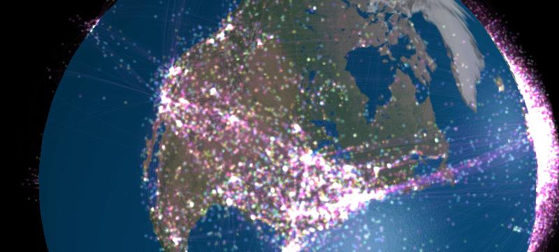 Visualizando los vuelos en el mundo