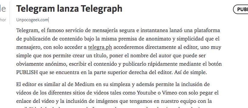 Telegram lanza Telegraph, su plataforma de blogging