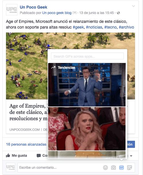 facebook gifs en los comentarios