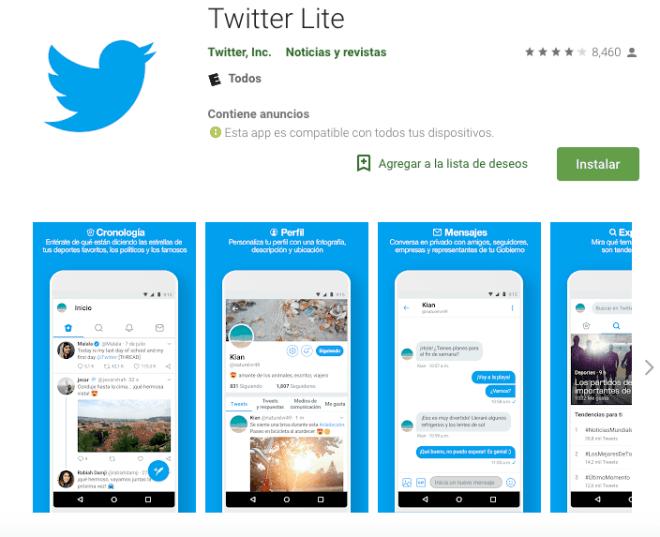Descarga Twitter lite para tu smartphone de bajos recursos o redes de baja potencia.