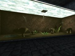 Screenshot of the Monster Hunt map, Birdbrained Research, showing captive cows, birds, and plantlife.