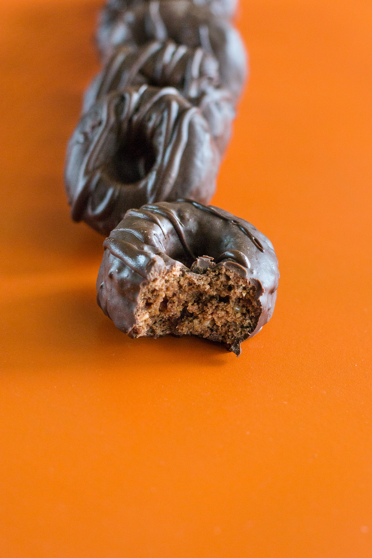 Mini Chocolate-covered Chocolate Doughnuts. Gluten-free, Sugar-free, Low- or No-Oil.
