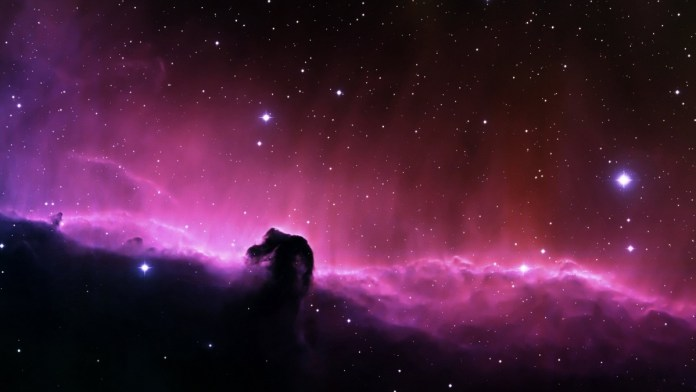 The Horsehead Nebula is a swirling cloud of gas and dust about 1500 light years from Earth in the constellation Orion.