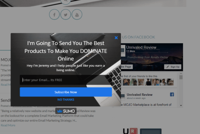 SumoMe Review Email List Builder Pop Up