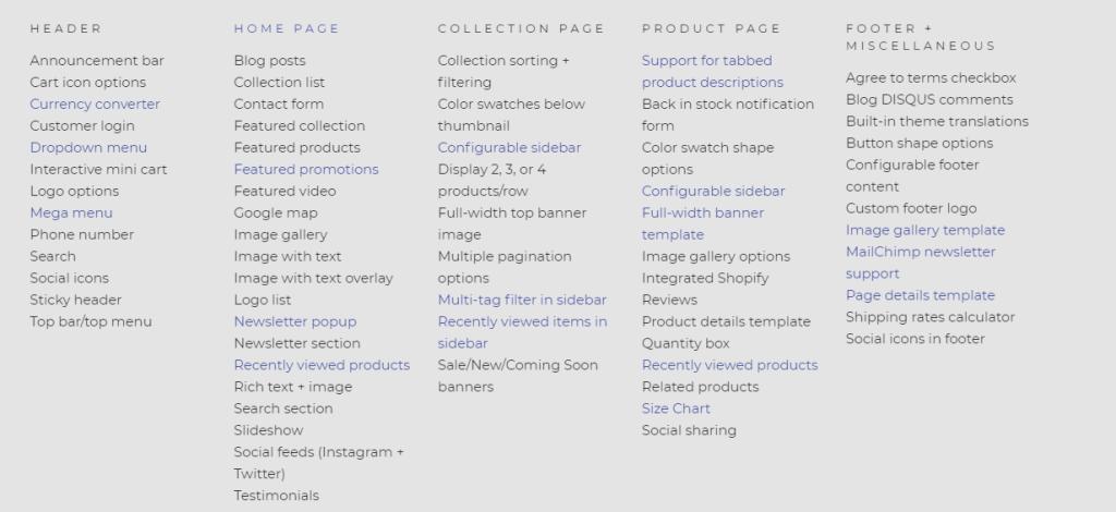 Portland Shopify Theme Features