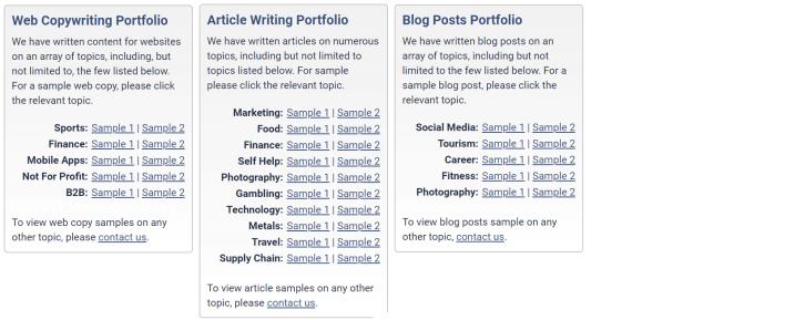 Content Development Pros Samples