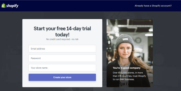 Shopify 90 Day Trial Sign Up Page