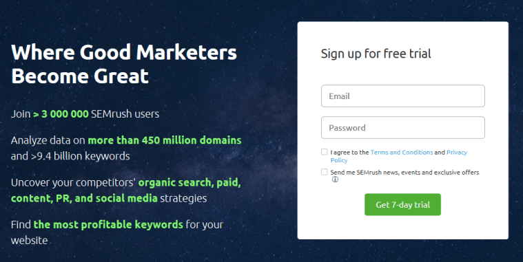 SEMrush 30 day free trial signup page