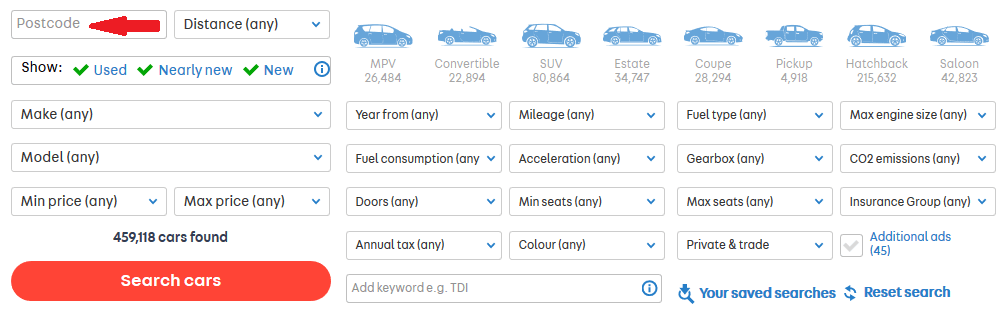 masini anglia autotrader post code