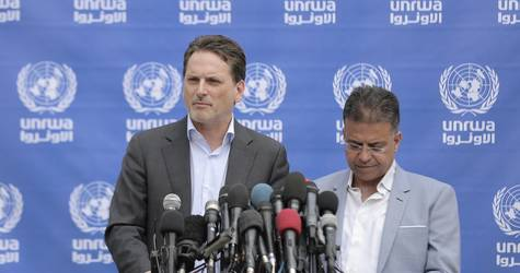 """The Commissioner-General  a press conference, highlighting that """"the direct consequence of the number of injured and nature of wounds, has been to bring the health-care system in Gaza to a breaking point"""" © 2018 UNRWA Photo by Mohammed Hinnawi ."""
