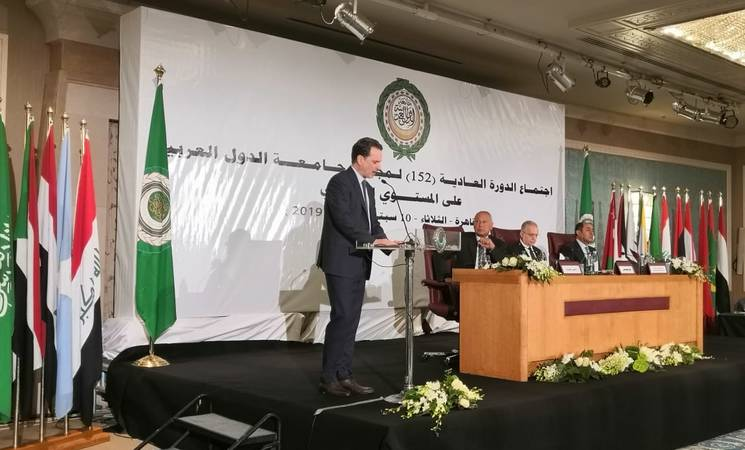 UNRWA Commissioner-General Pierre Krähenbühl addresses the 152nd session of the Council of Arab Foreign Ministers in Cairo. © 2019 UNRWA Photo.