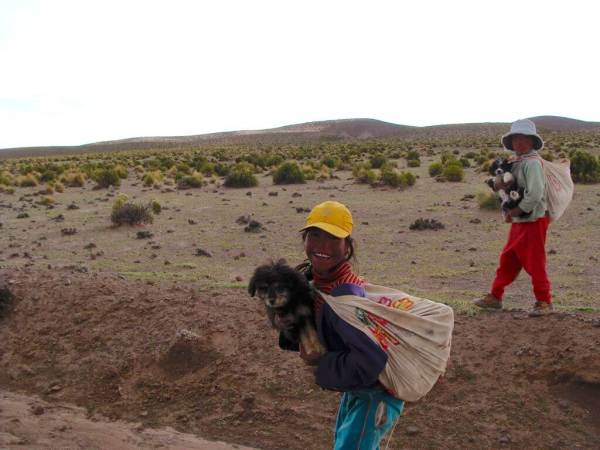 Petite fille et son chien Andes Bolivie Uyuni