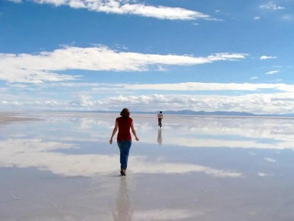 Amandine et François, Uyuni sous eaux, Bolivie