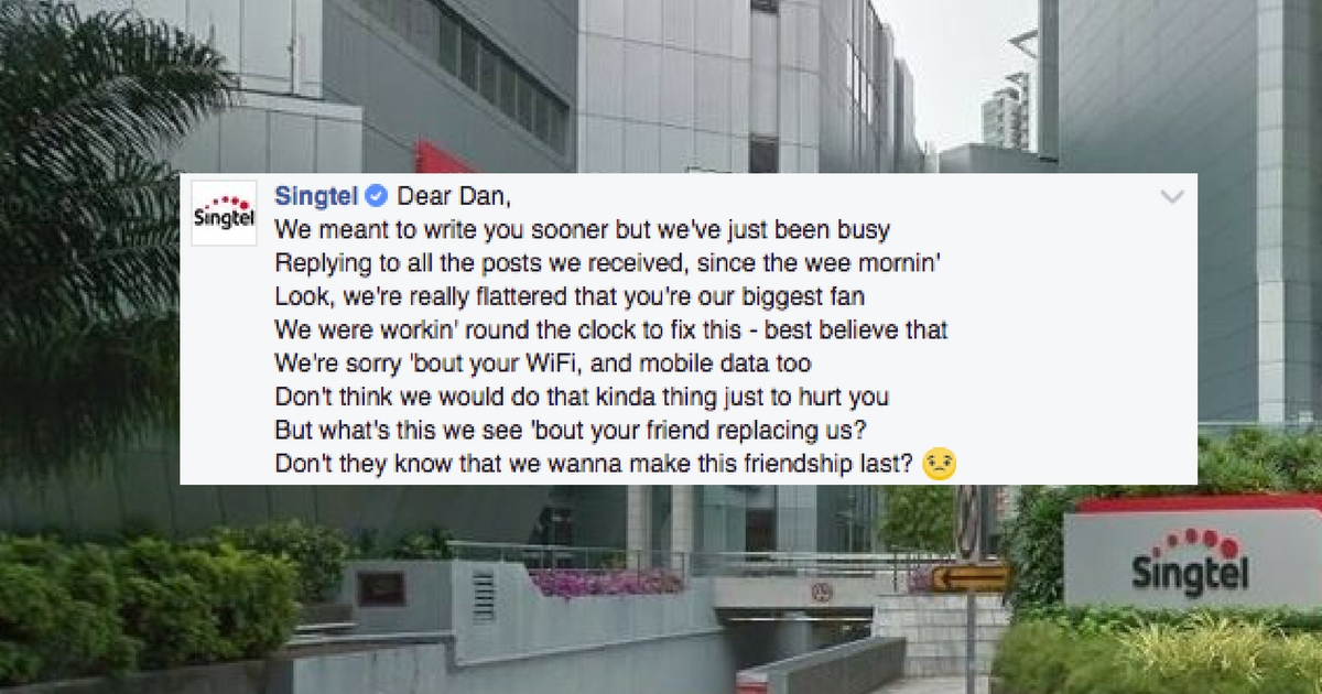 Facebook user raps to Singtel about broadband outage, Singtel raps